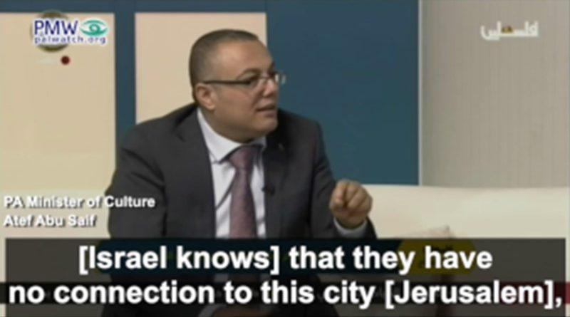 """Ministro da Autoridade Palestina: """"Israel não tem história"""""""