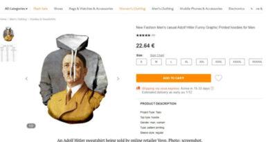 Site varejista com moleton de Hitler