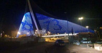 Jerusalém iluminada de azul e branco