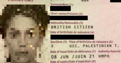 """""""Territórios Ocupados"""" diz o passaporte britânico"""